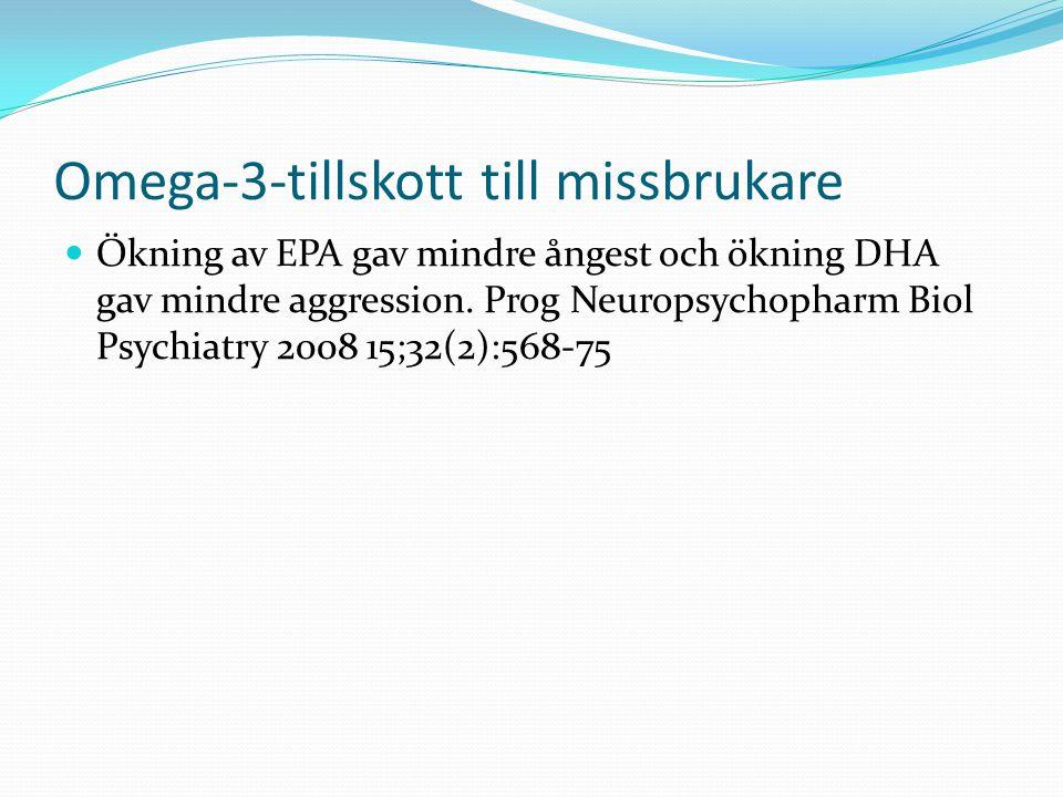 Omega-3-tillskott till missbrukare Ökning av EPA gav mindre ångest och ökning DHA gav mindre aggression.