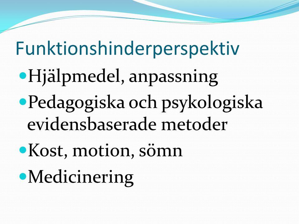 Funktionshinderperspektiv Hjälpmedel, anpassning Pedagogiska och psykologiska evidensbaserade metoder Kost, motion, sömn Medicinering