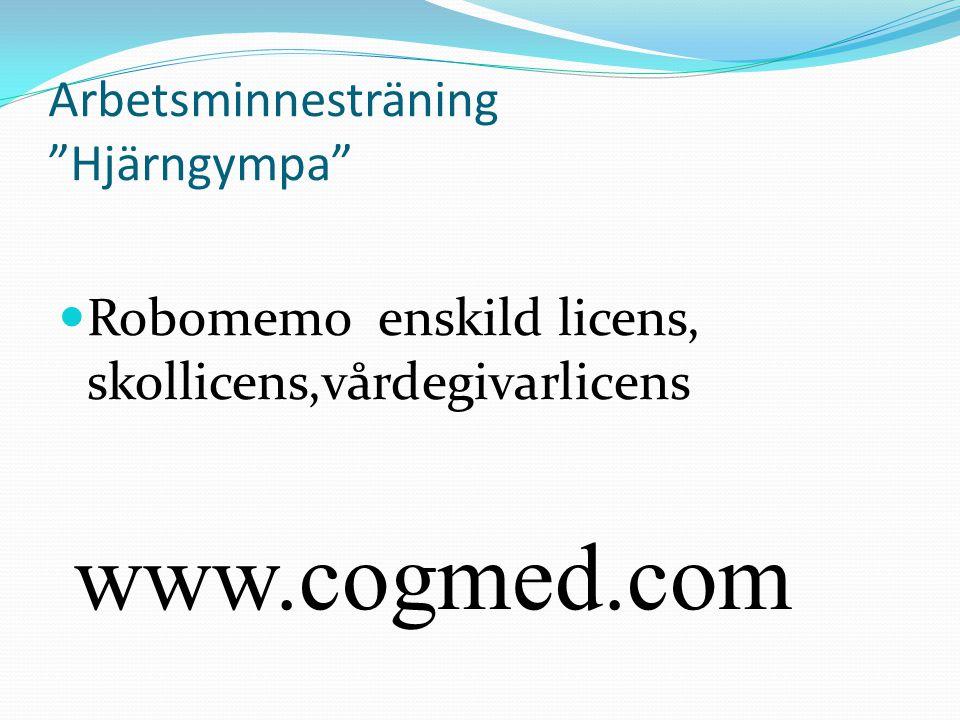 Arbetsminnesträning Hjärngympa Robomemo enskild licens, skollicens,vårdegivarlicens www.cogmed.com