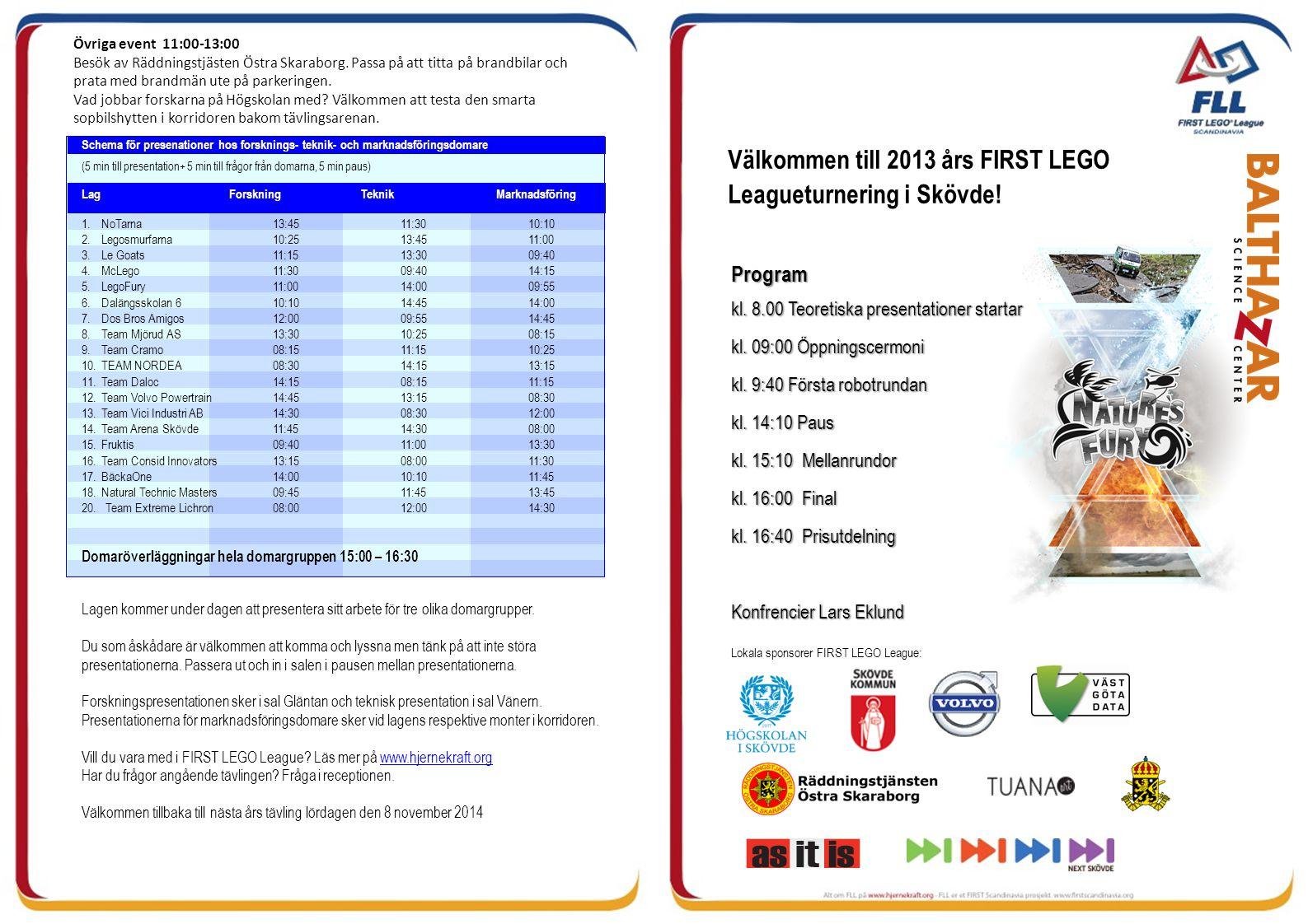 Välkommen till 2013 års FIRST LEGO Leagueturnering i Skövde! Lokala sponsorer FIRST LEGO League: Program kl. 8.00 Teoretiska presentationer startar kl