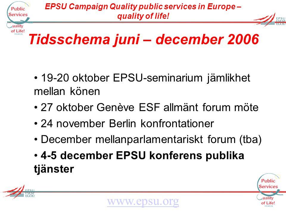 EPSU Campaign Quality public services in Europe – quality of life! www.epsu.org Tidsschema juni – december 2006 19-20 oktober EPSU-seminarium jämlikhe