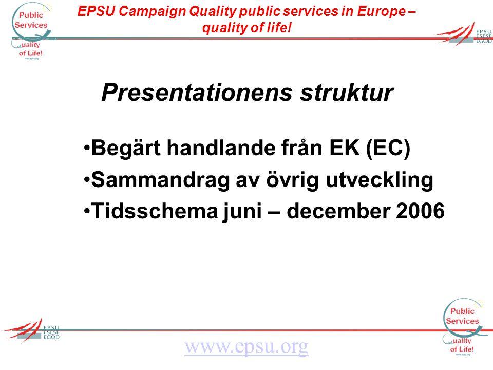 EPSU Campaign Quality public services in Europe – quality of life! www.epsu.org Presentationens struktur Begärt handlande från EK (EC) Sammandrag av ö