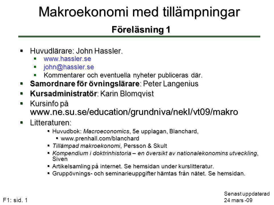 F1: sid. 1 Makroekonomi med tillämpningar Föreläsning 1  Huvudlärare: John Hassler.  www.hassler.se  john@hassler.se  Kommentarer och eventuella n