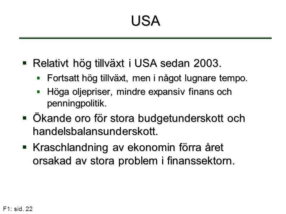 F1: sid. 22 USA  Relativt hög tillväxt i USA sedan 2003.  Fortsatt hög tillväxt, men i något lugnare tempo.  Höga oljepriser, mindre expansiv finan