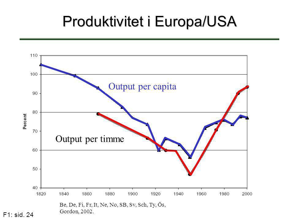 F1: sid. 24 Produktivitet i Europa/USA Be, De, Fi, Fr, It, Ne, No, SB, Sv, Sch, Ty, Ös, Gordon, 2002. Output per capita Output per timme