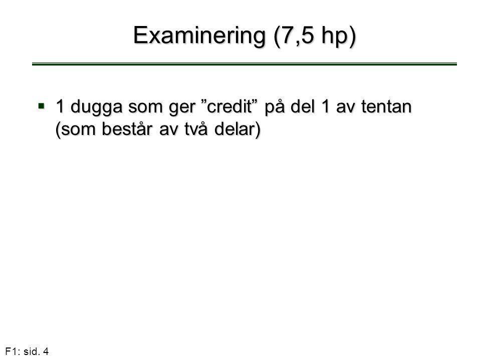 """F1: sid. 4  1 dugga som ger """"credit"""" på del 1 av tentan (som består av två delar) Examinering (7,5 hp)"""