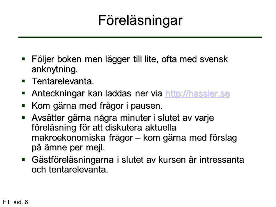 F1: sid. 6 Föreläsningar  Följer boken men lägger till lite, ofta med svensk anknytning.  Tentarelevanta.  Anteckningar kan laddas ner via http://h