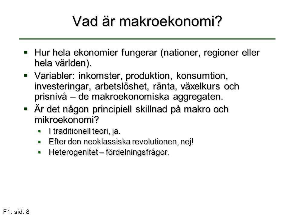 F1: sid. 8 Vad är makroekonomi?  Hur hela ekonomier fungerar (nationer, regioner eller hela världen).  Variabler: inkomster, produktion, konsumtion,