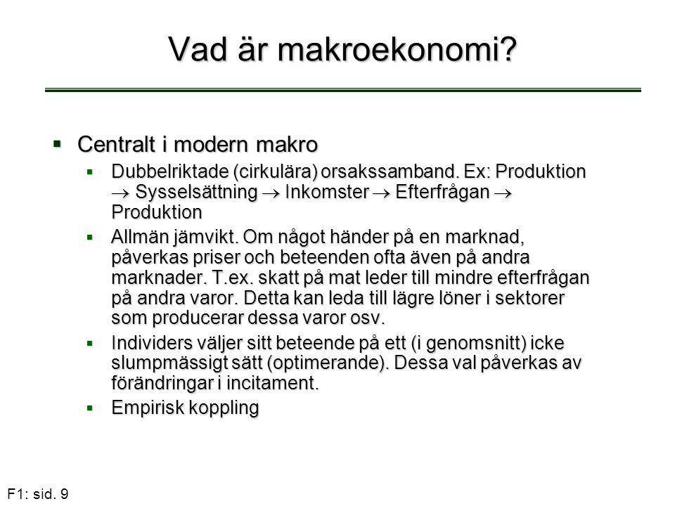 F1: sid. 9 Vad är makroekonomi?  Centralt i modern makro  Dubbelriktade (cirkulära) orsakssamband. Ex: Produktion  Sysselsättning  Inkomster  Eft