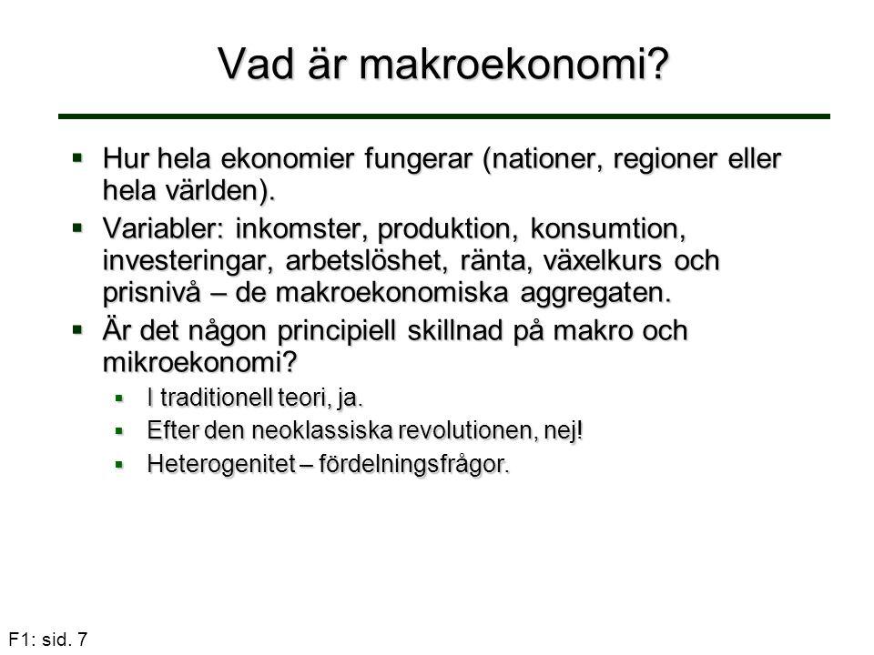 F1: sid.8 Vad är makroekonomi.