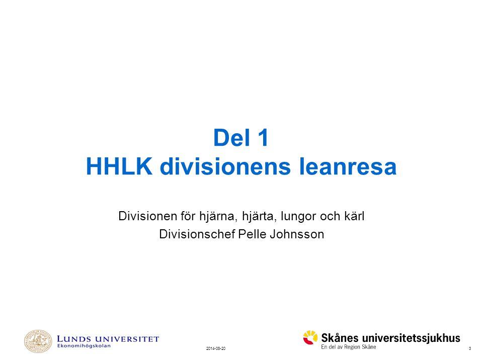 32014-08-20 Del 1 HHLK divisionens leanresa Divisionen för hjärna, hjärta, lungor och kärl Divisionschef Pelle Johnsson