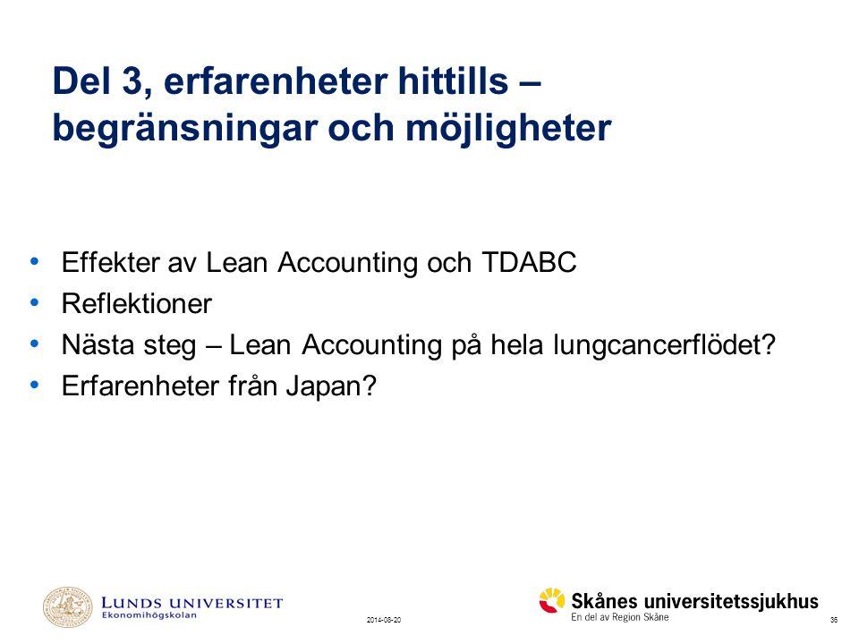 362014-08-20 Del 3, erfarenheter hittills – begränsningar och möjligheter Effekter av Lean Accounting och TDABC Reflektioner Nästa steg – Lean Accounting på hela lungcancerflödet.