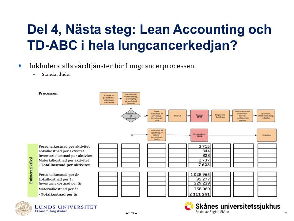402014-08-20 Inkludera alla vårdtjänster för Lungcancerprocessen – Standardtider Del 4, Nästa steg: Lean Accounting och TD-ABC i hela lungcancerkedjan?