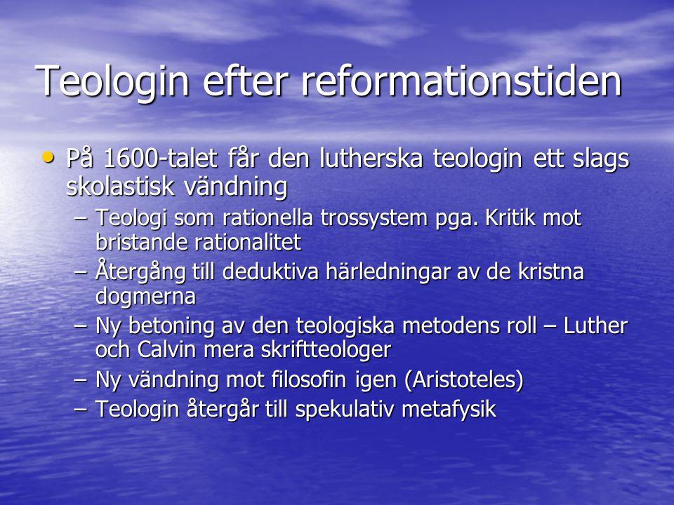 Modernismens teologi Upplysningstänkandet slog mycket mera radikalt mot den protestantiska formen av kristendom Upplysningstänkandet slog mycket mera radikalt mot den protestantiska formen av kristendom –Den romersk-katolska kyrkan och den östra kyrkans teologi var inte så öppna för upplysningens kritik –4 faktorer som kan belysa denna skillnad