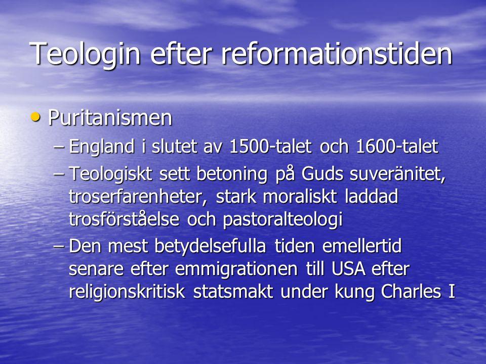 Teologin efter reformationstiden Pietismen Pietismen –uppkommer som en motreaktion mot den nya rationella, systemorienterade läro-inriktningen –kritik mot att vardagsverkligheten faller bort i den rådanande akademiska teologin 'pietism' kommer från latinets 'pietas' (bärmhärtighet) – ett uttryck givet av kritikerna av pietismen 'pietism' kommer från latinets 'pietas' (bärmhärtighet) – ett uttryck givet av kritikerna av pietismen upptakt med Philip Jacob Spener: 'Pia Desideria' – 1675 upptakt med Philip Jacob Spener: 'Pia Desideria' – 1675 kritik mot förfallet i den lutherska kyrkan efter 30-åriga kriget kritik mot förfallet i den lutherska kyrkan efter 30-åriga kriget betoning på personligt bibelstudium och personlig trotillägnelse och troserfarenhet betoning på personligt bibelstudium och personlig trotillägnelse och troserfarenhet