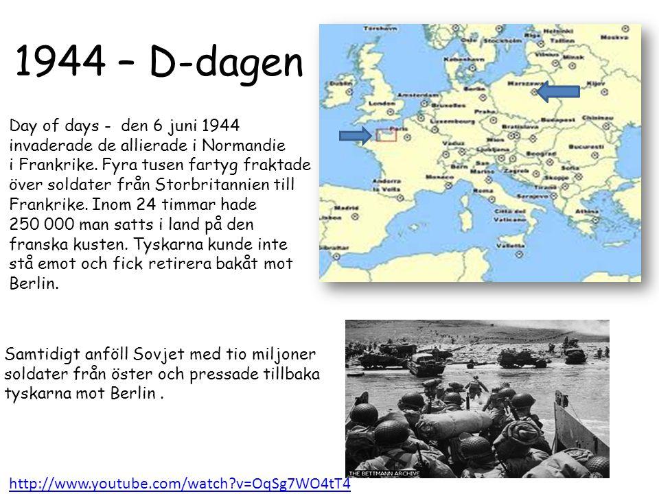 1943 - Motangrepp De allierade började nu tillsammans med USA och Sovjetunionen att producera mycket mer vapen än axelmakterna. De Allierade började m