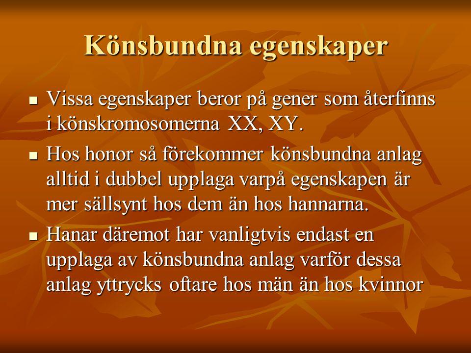 Könsbundna egenskaper Vissa egenskaper beror på gener som återfinns i könskromosomerna XX, XY. Vissa egenskaper beror på gener som återfinns i könskro