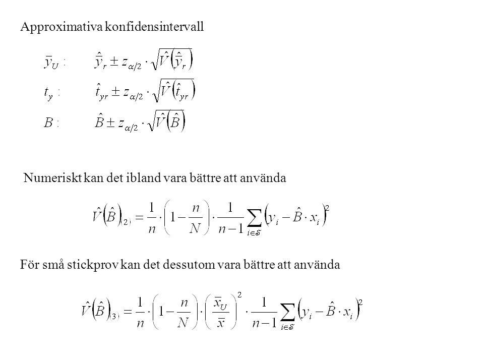 Approximativa konfidensintervall Numeriskt kan det ibland vara bättre att använda För små stickprov kan det dessutom vara bättre att använda