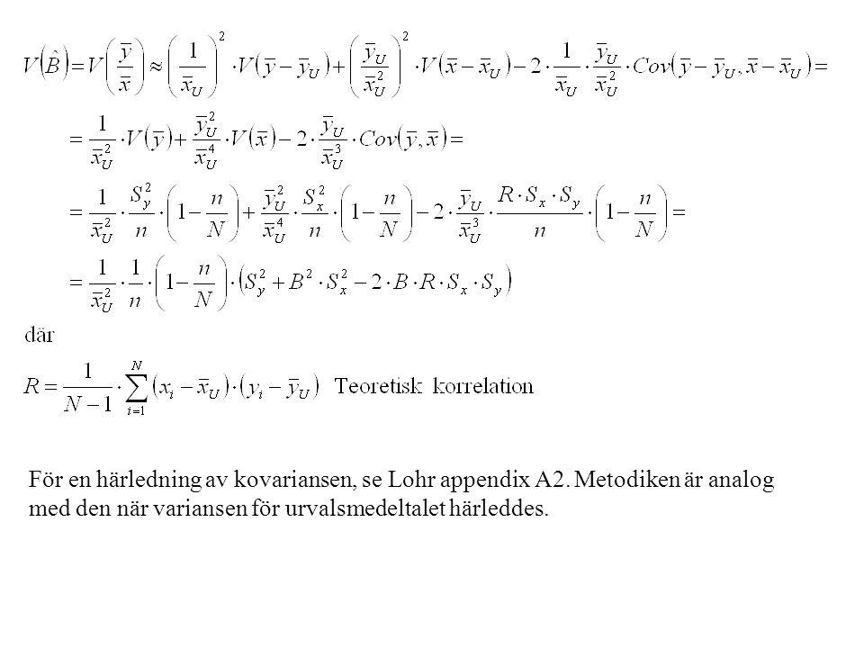 För en härledning av kovariansen, se Lohr appendix A2. Metodiken är analog med den när variansen för urvalsmedeltalet härleddes.