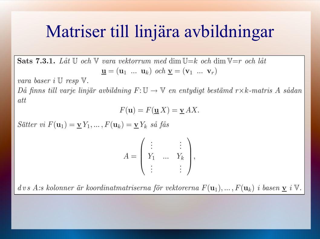 Matriser till linjära avbildningar