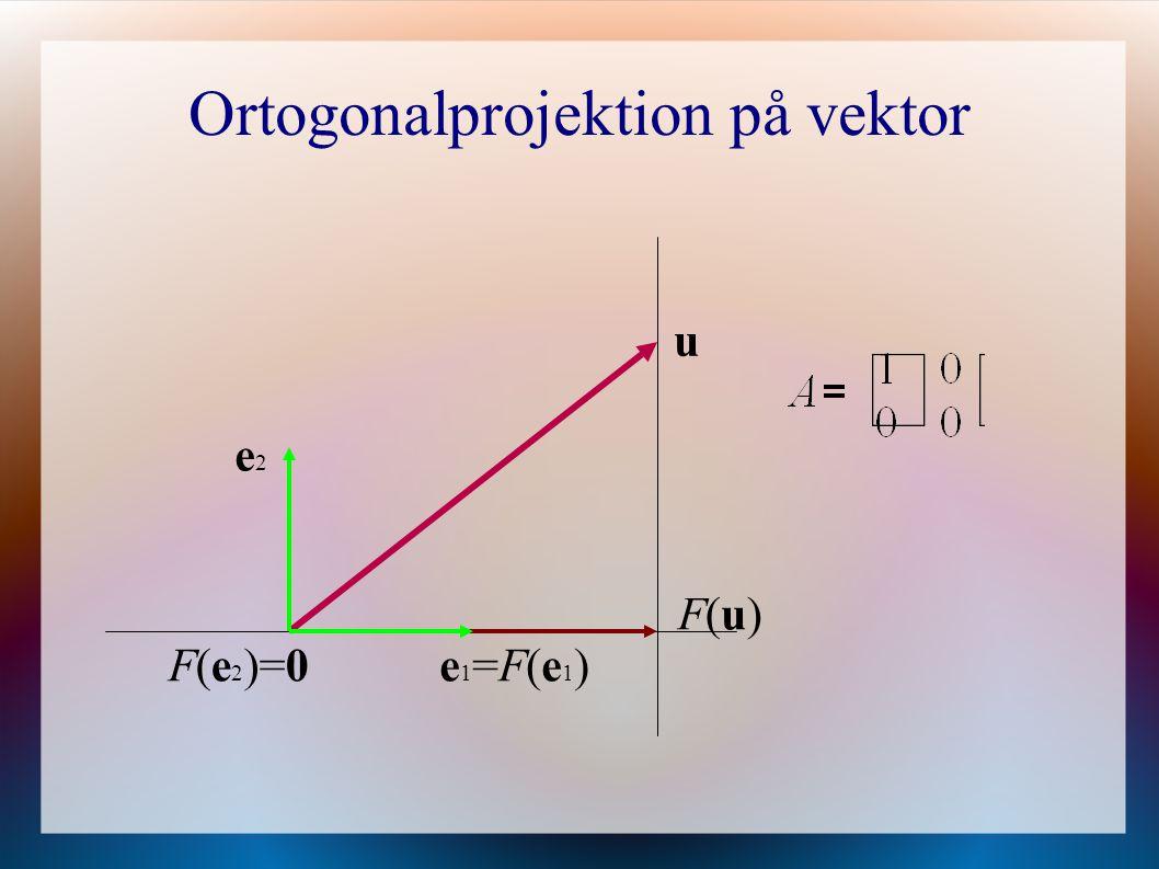 Ortogonalprojektion på vektor e1=F(e1)e1=F(e1) e2e2 F(e 2 )=0 u F(u)F(u)