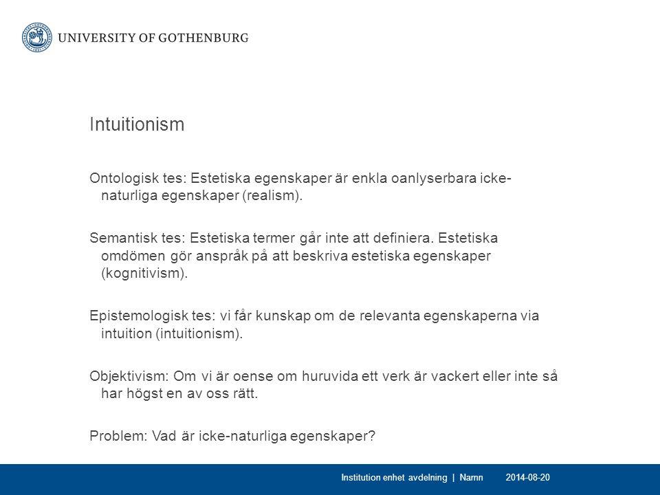 Intuitionism Ontologisk tes: Estetiska egenskaper är enkla oanlyserbara icke- naturliga egenskaper (realism). Semantisk tes: Estetiska termer går inte