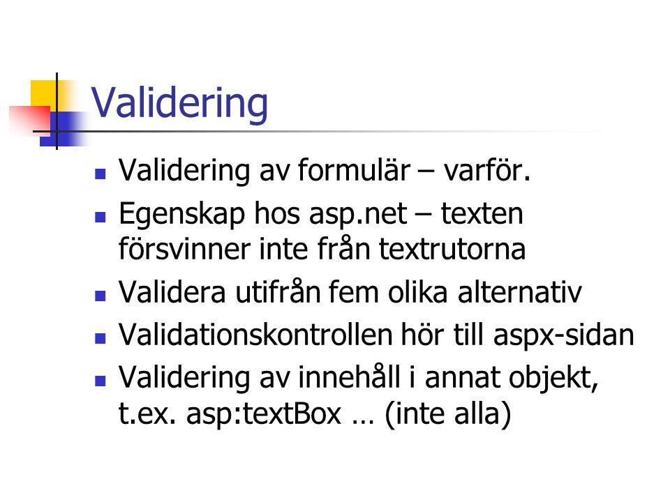 Validering Validering av formulär – varför. Egenskap hos asp.net – texten försvinner inte från textrutorna Validera utifrån fem olika alternativ Valid