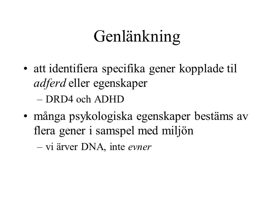 Genlänkning att identifiera specifika gener kopplade til adferd eller egenskaper –DRD4 och ADHD många psykologiska egenskaper bestäms av flera gener i