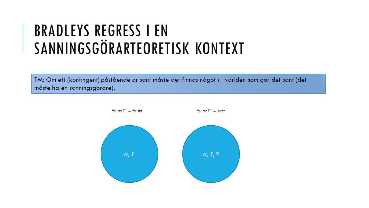 """BRADLEYS REGRESS I EN SANNINGSGÖRARTEORETISK KONTEXT a, F, ?a, F """"a är F"""" = falskt """"a är F"""" = sant TM: Om ett (kontingent) påstående är sant måste det"""