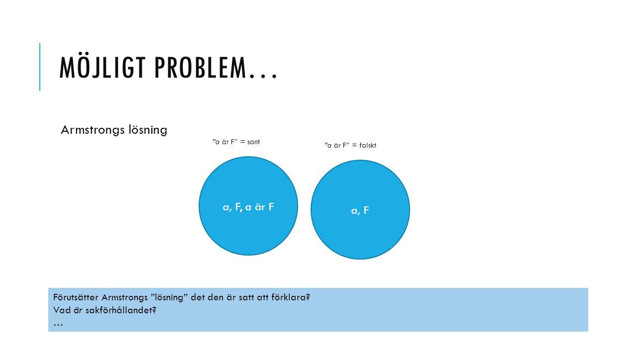 """MÖJLIGT PROBLEM… Armstrongs lösning a, F a, F, a är F """"a är F"""" = sant """"a är F"""" = falskt Förutsätter Armstrongs """"lösning"""" det den är satt att förklara?"""