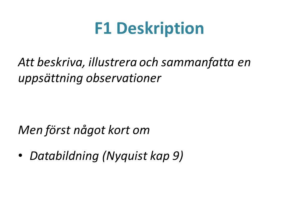 F1 Deskription Att beskriva, illustrera och sammanfatta en uppsättning observationer Men först något kort om Databildning (Nyquist kap 9)