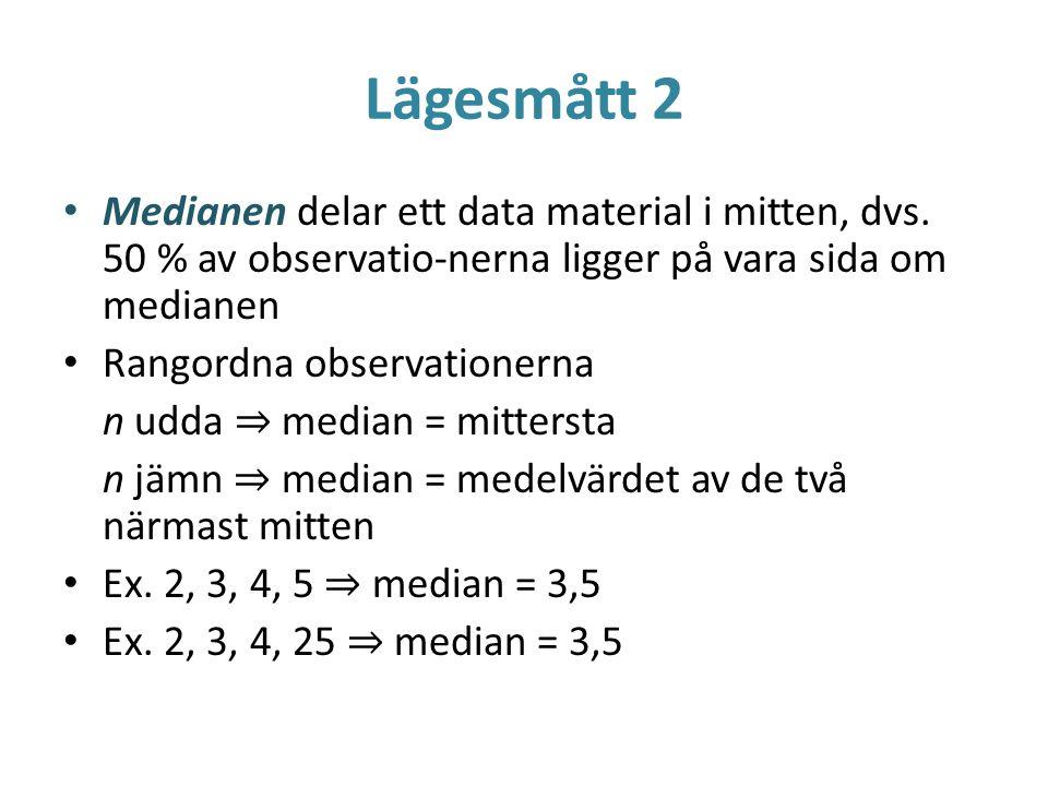 Lägesmått 2 Medianen delar ett data material i mitten, dvs. 50 % av observatio-nerna ligger på vara sida om medianen Rangordna observationerna n udda