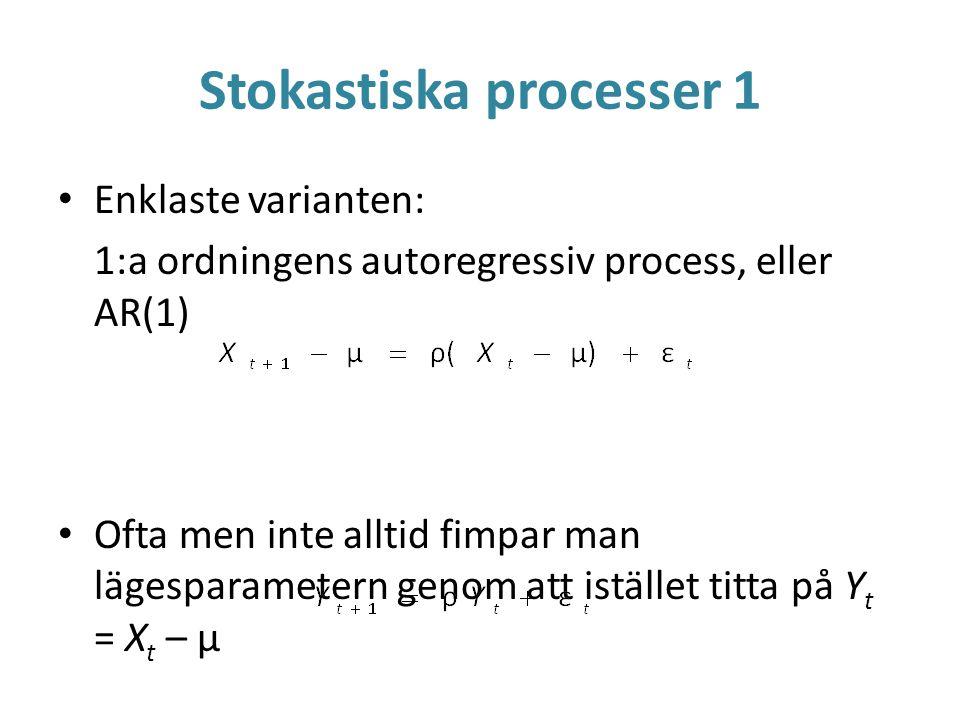 Stokastiska processer 1 Enklaste varianten: 1:a ordningens autoregressiv process, eller AR(1) Ofta men inte alltid fimpar man lägesparametern genom at