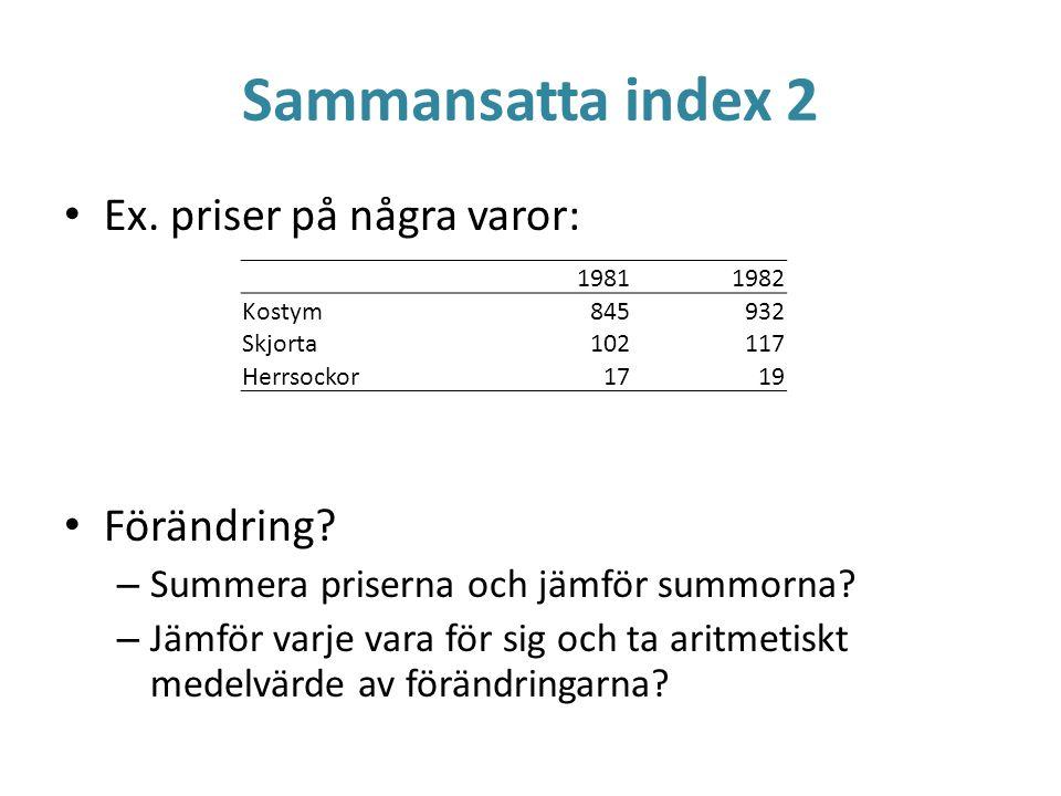 Sammansatta index 2 Ex. priser på några varor: Förändring? – Summera priserna och jämför summorna? – Jämför varje vara för sig och ta aritmetiskt mede