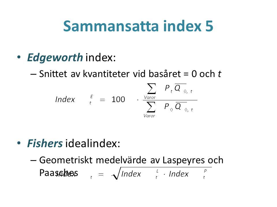 Sammansatta index 5 Edgeworth index: – Snittet av kvantiteter vid basåret = 0 och t Fishers idealindex: – Geometriskt medelvärde av Laspeyres och Paas