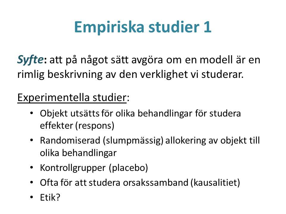Empiriska studier 1 Syfte : att på något sätt avgöra om en modell är en rimlig beskrivning av den verklighet vi studerar. Experimentella studier: Obje
