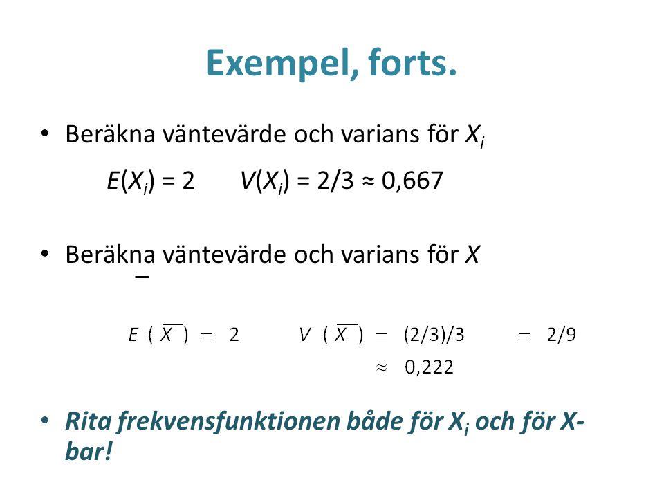 Exempel, forts. Beräkna väntevärde och varians för X i E(X i ) = 2V(X i ) = 2/3 ≈ 0,667 Beräkna väntevärde och varians för X Rita frekvensfunktionen b