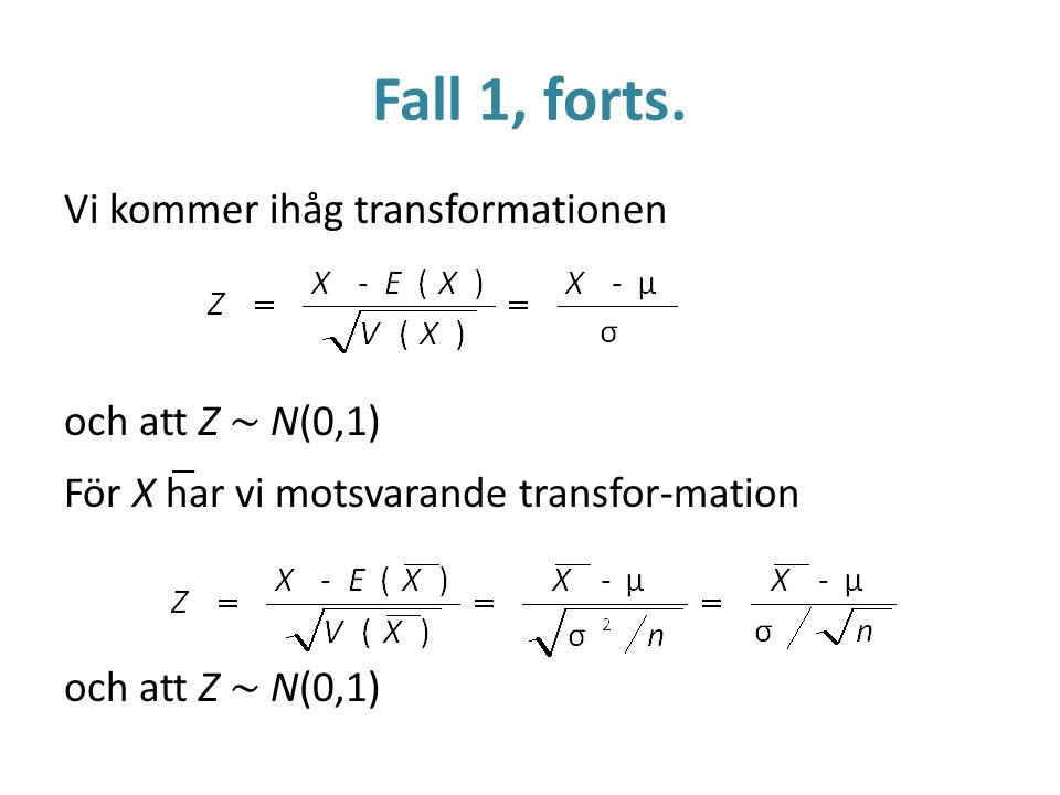 Fall 1, forts. Vi kommer ihåg transformationen och att Z ~ N(0,1) För X har vi motsvarande transfor-mation och att Z ~ N(0,1)