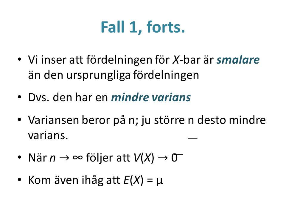 Fall 1, forts. Vi inser att fördelningen för X-bar är smalare än den ursprungliga fördelningen Dvs. den har en mindre varians Variansen beror på n; ju