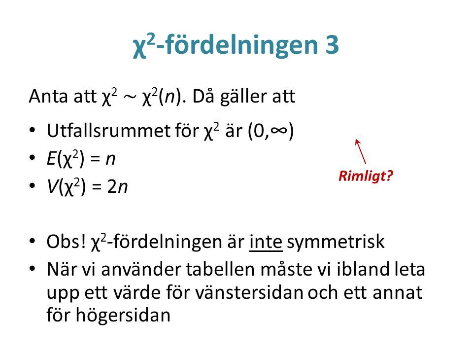 χ 2 -fördelningen 3 Anta att χ 2 ~ χ 2 (n). Då gäller att Utfallsrummet för χ 2 är (0,∞) E(χ 2 ) = n V(χ 2 ) = 2n Obs! χ 2 -fördelningen är inte symme