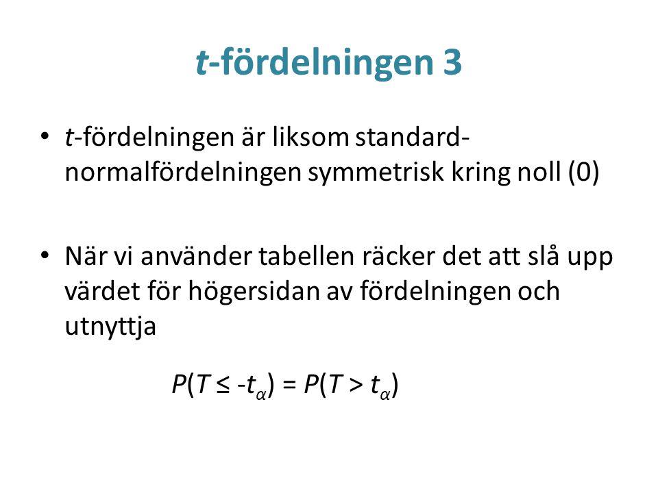 t-fördelningen 3 t-fördelningen är liksom standard- normalfördelningen symmetrisk kring noll (0) När vi använder tabellen räcker det att slå upp värde