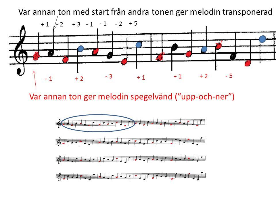 """+ 1- 2+ 3- 1 - 2 + 5 - 1 + 2 - 3 + 1 + 2 - 5 Var annan ton ger melodin spegelvänd (""""upp-och-ner"""") Var annan ton med start från andra tonen ger melodin"""