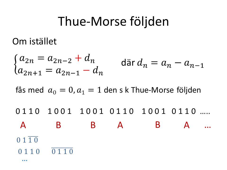 Thue-Morse följden Om istället AAABB B… …