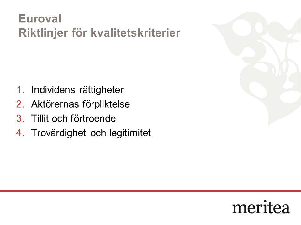 Euroval Riktlinjer för kvalitetskriterier 1.Individens rättigheter 2.Aktörernas förpliktelse 3.Tillit och förtroende 4.Trovärdighet och legitimitet