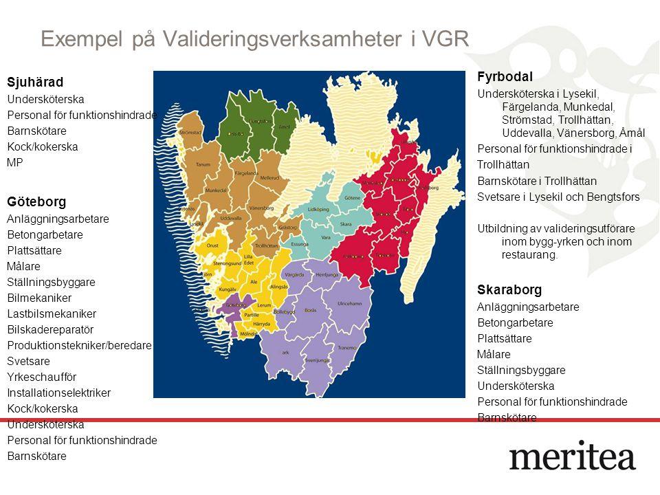 Exempel på Valideringsverksamheter i VGR Fyrbodal Undersköterska i Lysekil, Färgelanda, Munkedal, Strömstad, Trollhättan, Uddevalla, Vänersborg, Åmål