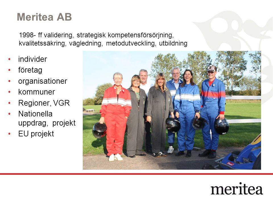 Meritea AB individer företag organisationer kommuner Regioner, VGR Nationella uppdrag, projekt EU projekt 1998- ff validering, strategisk kompetensför