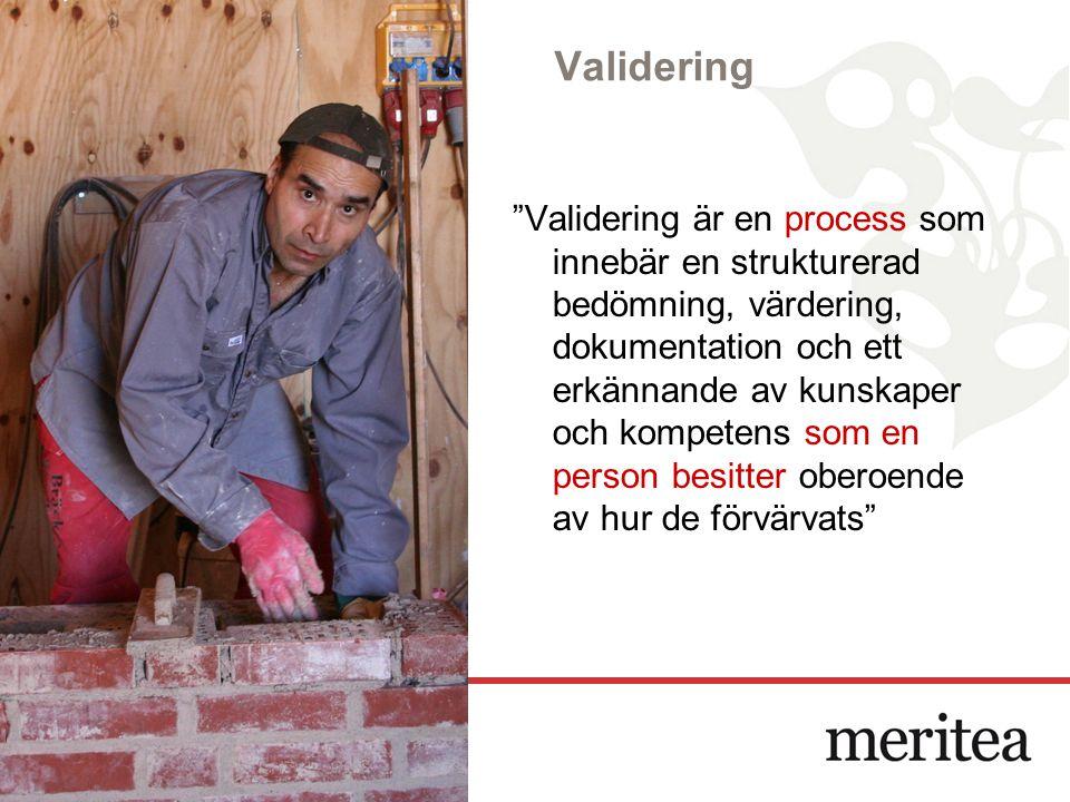 """Validering """"Validering är en process som innebär en strukturerad bedömning, värdering, dokumentation och ett erkännande av kunskaper och kompetens som"""