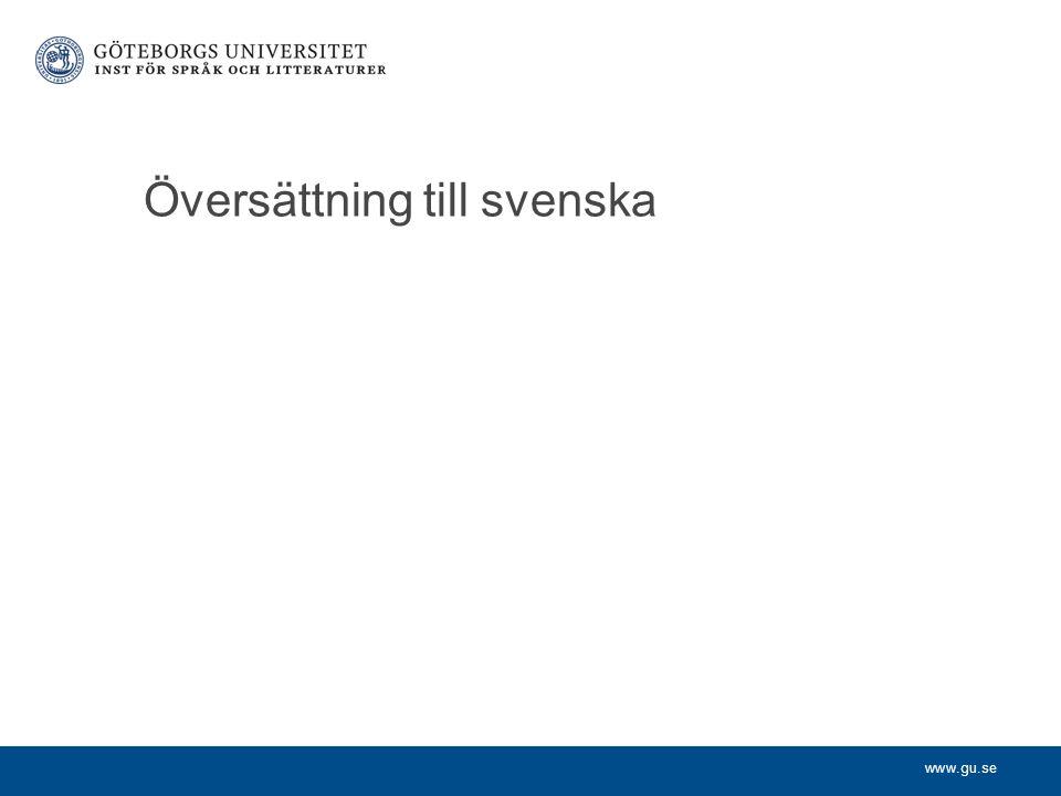 www.gu.se Översättning till svenska