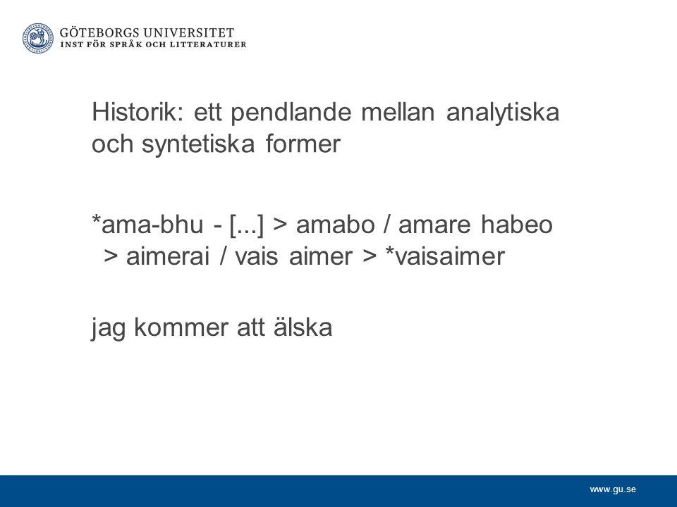 www.gu.se Historik: ett pendlande mellan analytiska och syntetiska former *ama-bhu - [...] > amabo / amare habeo > aimerai / vais aimer > *vaisaimer j