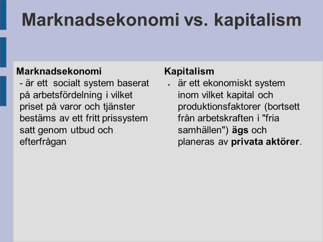 Marknadsekonomi vs. kapitalism Marknadsekonomi - är ett socialt system baserat på arbetsfördelning i vilket priset på varor och tjänster bestäms av et